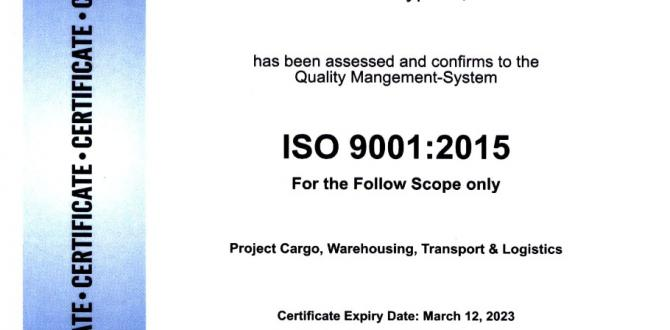 Star Shipping Pakistan Certified to ISO 9001 Standards