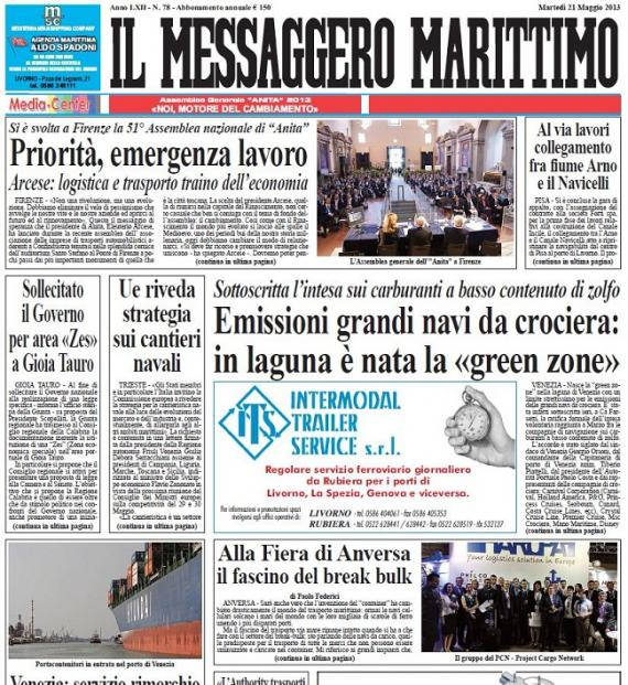 PCN Features on Front Cover of Il Messaggero Marittimo