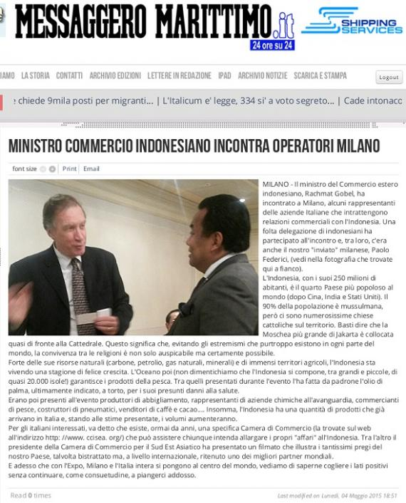 Indonesian Minister meets with Fortune International Transport