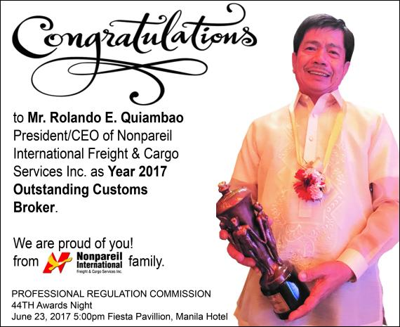 Nonpareil Awarded Most Outstanding Customs Broker 2017 by the PRC